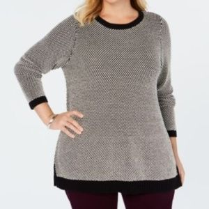 Charter Club Bi-Stitch Metallic Scoop Neck Sweater